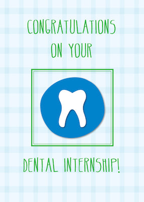 52082A Dental Internship Congratulations Tooth on Blue, Green