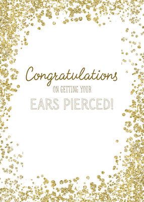 52361 Congratulations on Getting Ears Pierced, Gold Confetti
