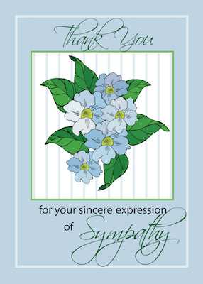 2776E Expression of Sympathy Thank You Blue Flowers