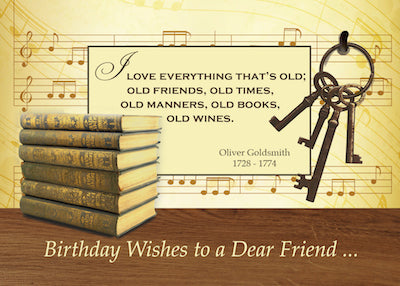 52394 Birthday to an Old Friend, Funny Vintage Books & Keys