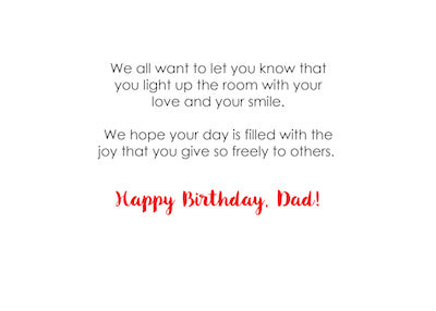 52373EA From All Of Us Dad, Happy Birthday, Light Bulb Letters