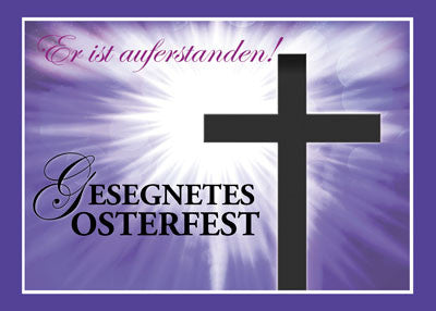 52221BA German Foreign Language Easter Blessings Cross Starburst on Purple
