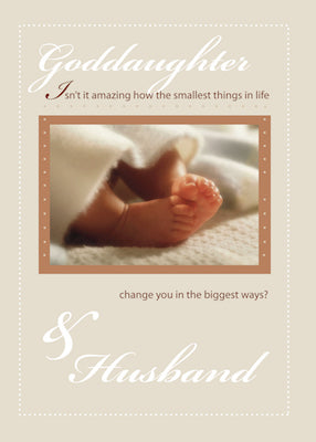 4099H Goddaughter & Husband Congratulations New Baby Feet
