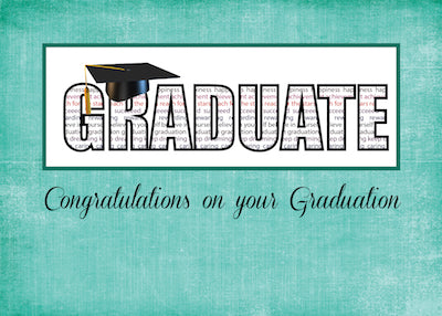 51911NA  Graduate in Words Congratulations on Teal