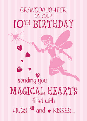 52369M Granddaughter 10th Birthday Magical Fairy Pink Hearts