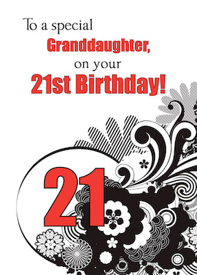 51880B  Granddaughter 21st Birthday Religious Swirls