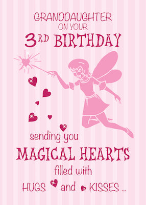 52369E Granddaughter 3rd Birthday Magical Fairy Pink Hearts