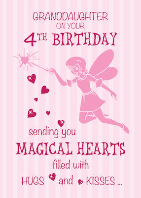 52369F Granddaughter 4th Birthday Magical Fairy Pink Hearts
