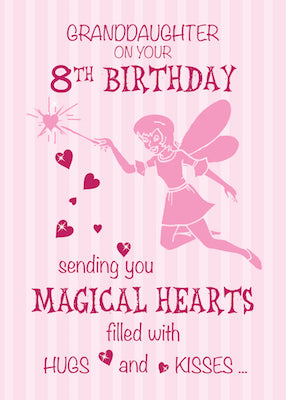 52369K Granddaughter 8th Birthday Magical Fairy Pink Hearts