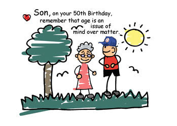 51942 Son 50th Birthday Humorous Stick Figures