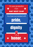 51661P Navy Boot Camp Graduation Congratulations Red, White, Blue Stripes Stars