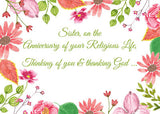 52472 Nun, Religious Jubilee Anniversary Watercolor Flowers
