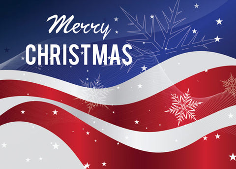 52567 Patriotic Merry Christmas Flag With Snowflakes
