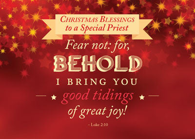 52486 Priest Christmas Blessings Red, Gold Stars