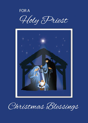 52485 Priest Christmas Blessings, Manger on Blue