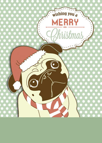 52016 Pug Dog Merry Christmas