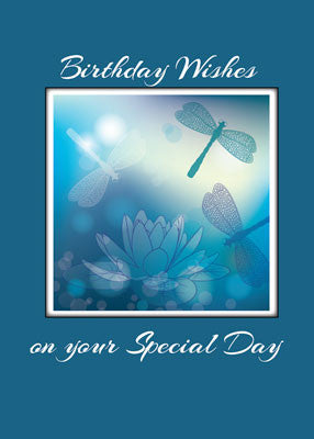 51884 Religious Birthday Card with Dragonflies