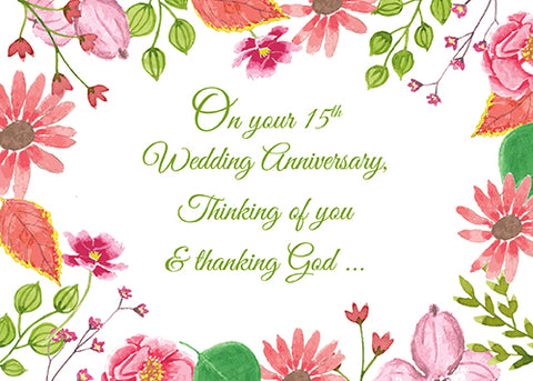 52472CC Religious 15th Wedding Anniversary Watercolor Flowers