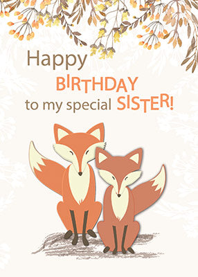 52312A Sister Birthday Foxes, Tree Branches, Leaves