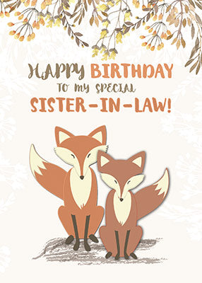 52312B Sister-in-Law Birthday Foxes, Tree Branches, Leaves