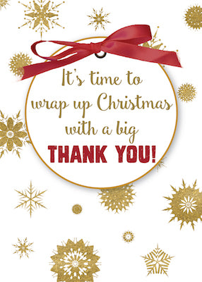 52353 Thank You For Christmas Gift, Gold Snowflakes, Red Ribbon