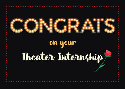 52373A Theater Internship Congratulations Marquee Light Letters on Black, Red Flower
