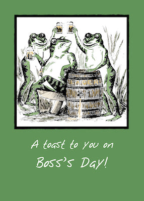 51941N Boss From Group Boss's Day Frogs Toasting with Beer