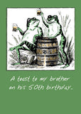 51941a Brother, 50th Birthday, Frogs with Beer