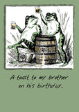 51941 Brother, Birthday Frogs with Beer, Humorous Card