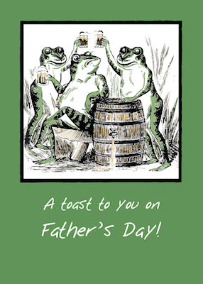 51941P Dad Father's Day Funny Frogs Toasting with Beer