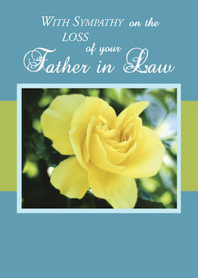 4370B Loss of Father-in-Law, Sympathy Yellow Rose