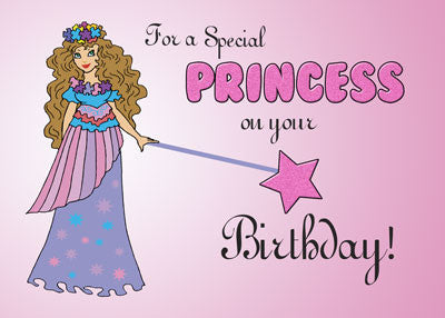 51837 Pink Princess Birthday Girl Card