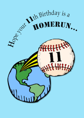 4148C 11th Baseball Birthday Homerun