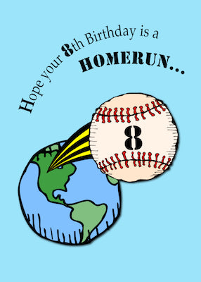 4148B 8th Baseball Birthday Homerun