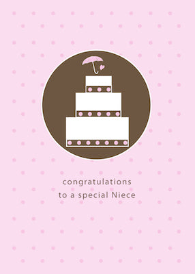 3980H Niece, Bridal Shower Cake, Brown, Pink