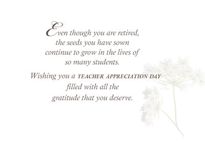 3602CE Retired Teacher Teacher Appreciation Day, Wildflower