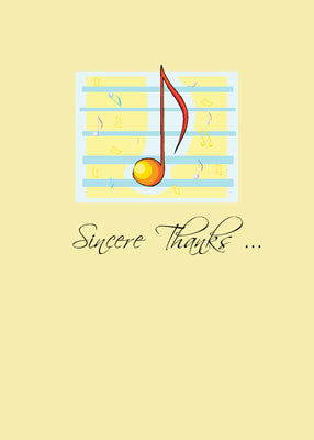 4193 Sincere Thanks Yellow Music Note