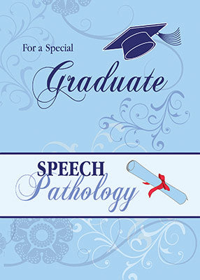 51910C Speech Pathology Graduation Congratulations, Blue Swirls