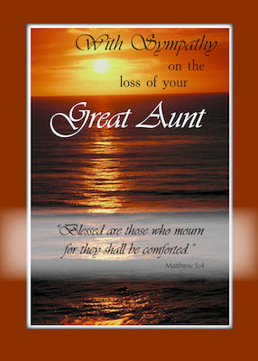 4102G Sympathy Loss of Great Aunt, Sunset Over Ocean, Religious