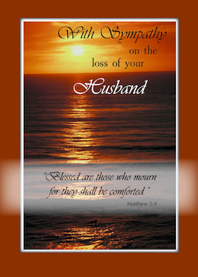 4102J Sympathy Loss of Husband, Sunset Over Ocean, Religious