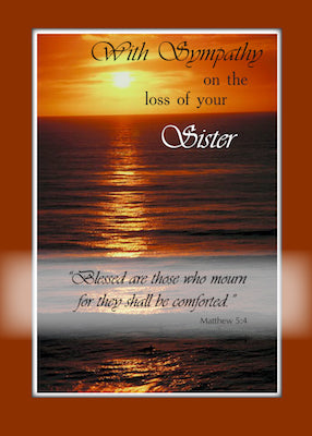 4102P Sympathy Loss of Sister, Sunset Over Ocean, Religious