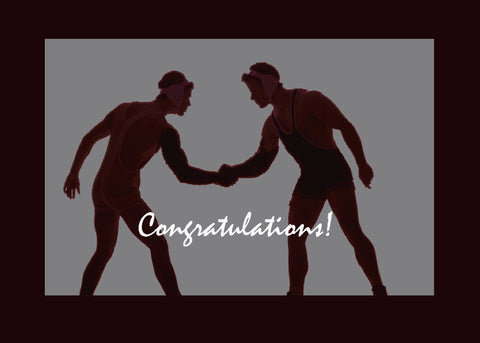 52335 Wrestling Sport, Black & Gray Congratulations