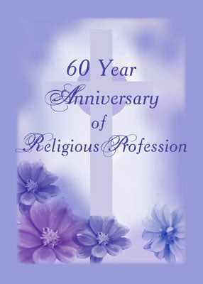 4362A 60th Anniversary of Religious Profession, Nun, Purple Cross Flowers