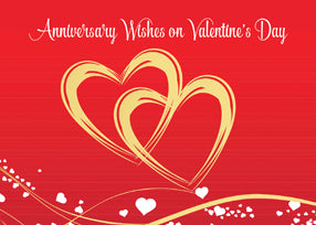 52504 Anniversary Wishes Valentine's Day Gold Hearts