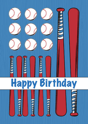 52421 Baseball Flag Birthday, Red, White, Blue