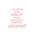 52077H Birthday Friend Cute Bird on Striped Paper