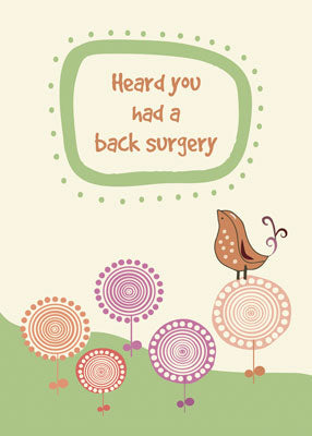 52284D  Feel Better Back Surgery Cute Bird on Whimsical Flowers