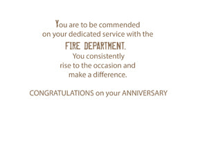 52541 Fire Department Employee Anniversary Grunge Text