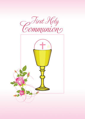 52078A Girl Pink First Holy Communion, Chalice, Host, Roses