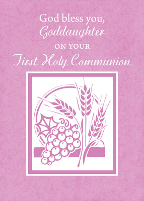 51882C Goddaughter First Communion Card, Pink